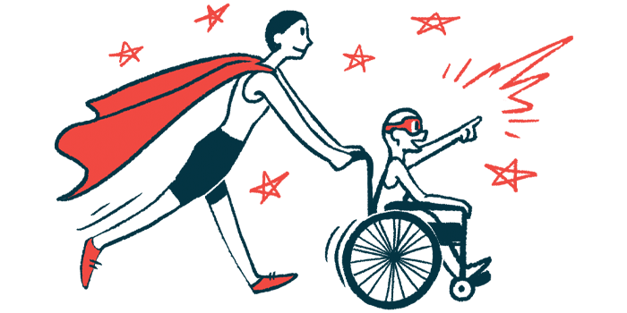 rare disease clinical trial participants | Epidermolysis Bullosa News | Illustration of woman in cape pushing child in wheelchair